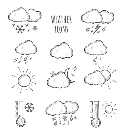 Vector illustration of weather icons set. Sun, cloud, cloudy, rain, snow, thunderstorm, thunder, storm, wind, hot and cold temperature thermometer. Vintage hand drawn style. Illustration
