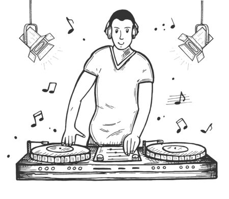 Vector illustration of smiling disc jockey with console making nightclub party. DJ wearing headphones playing music and mixing on vinyl records. Dancing club. Vintage hand drawn style.