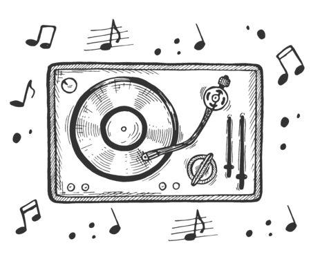 Vektor-Illustration der alten Audio-Disc, DJ-Player, Musik. Schallplatte auf Plattenspieler-Draufsicht-Doodle-Symbol. Musiknoten. Vintage handgezeichnete Stil.