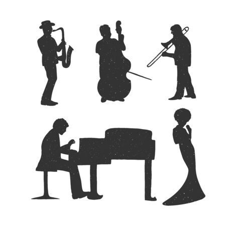 Vector illustration of ladies and gentleman music set. Jazz musicians band silhouettes. Saxophone, trumpet, cello, trombone, singer girl or woman, grand piano player. Vintage hand drawn style.