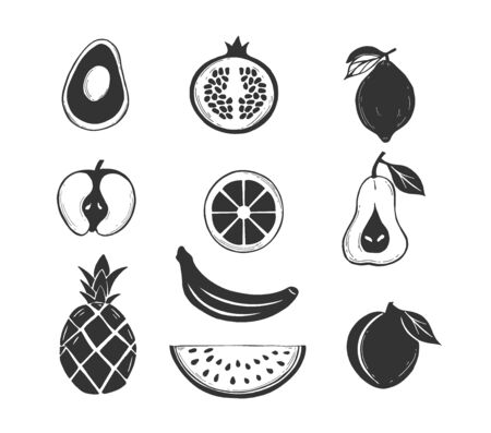 Vector illustration of stenciled fruits silhouette icons set. Avocado, apple, pineapple, watermelon slice, peach, banana, orange, citrus, pomegranate, lemon, pear. Vintage hand drawn style.