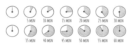 Illustration vectorielle du jeu d'icônes de doodle simple minuterie. Chronomètre sur 5, 10, 15, 20, 25, 30, 35, 40, 45, 50, 55 et 60 minutes. Une demi-heure et un quart d'heure. Style vintage dessiné à la main.