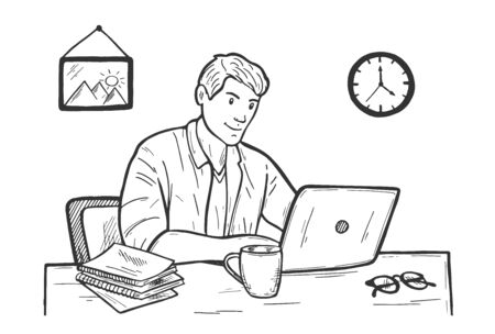 Vector illustration of office worker portrait. Young man programmer working behind desk with his laptop. Business analysis, strategy planning. Businessman or freelancer. Vintage hand drawn style.