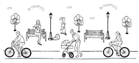 Vector illustration of outdoor park leisure and recreation. Family weekend. People riding bikes, walking with baby carriage, reading on bench, playing with kick scooter. Vintage hand drawn style.