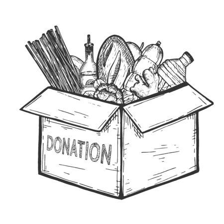 Illustration vectorielle de la banque alimentaire d'épicerie humanitaire. Boîte de dons avec de la nourriture pour la charité et le bénévolat. Aide aux réfugiés, aux sans-abri et aux personnes nécessiteuses. Style vintage dessiné à la main.