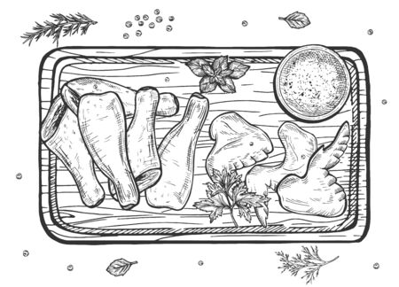 Vector illustration of hen meat set. Raw parts or cooked fried, roasted dish. Chicken poultry legs and wings with spices on cutting board. Still life top view. Vintage hand drawn style. Illustration