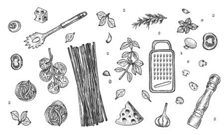 Ilustración de vector de conjunto de ingredientes de la cocina italiana. Bodegón de pasta. Espaguetis, hierbas y especias, albahaca, tomates, rallador de queso, molinillo de pimienta, colador. Estilo vintage dibujado a mano. Ilustración de vector