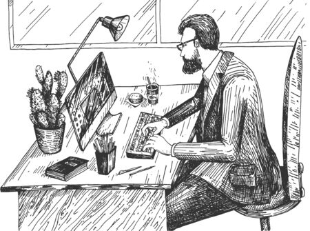 Vector illustration of executive manager at workspace. Bearded business man in suit and eyeglasses working on computer at office desk with stationary. Vintage hand drawn style.