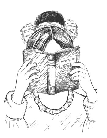 Vector illustration of young smart girl reading book with interest. Female learning for exams or for fun. Education, school, library, literature, knowledge. Pupil studying. Vintage hand drawn style.