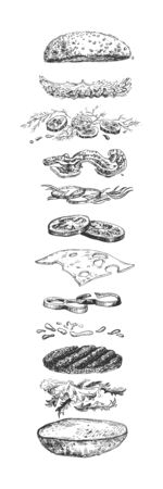 Vector illustration of levitating burger ingredients. Hamburger, bun, meat cutlet, bacon, pickles, onion, cheese, paprika, sauce, salad leaves. Fast food cooking process. Vintage hand drawn style