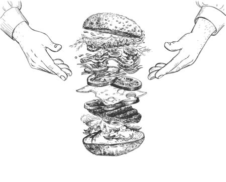 Vector illustration of fast food. Levitating burger ingredients. Hamburger, bun, meat cutlet, bacon, pickles, onion, cheese, paprika, sauce, salad leaves. Cook chef hands. Vintage hand drawn style.