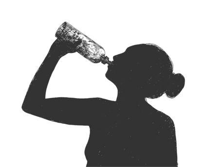 Vectorillustratie van gezonde drank dieet levensstijl. Silhouet meisje drinkwater uit fles. Vintage handgetekende stijl.