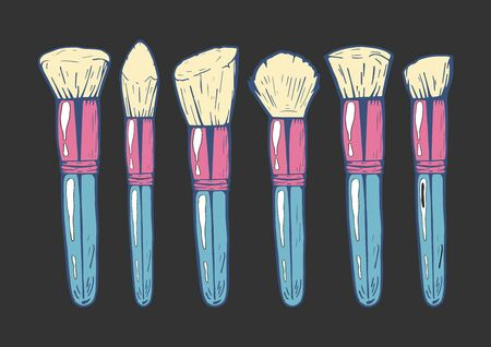 Vector illustration of a girly feminine makeup brushes for blush, powder and contouring. Hand drawn doodle style with colorful underlay.  Illustration