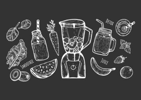 Vector illustration of a smoothie set. Blender, jar with a straw, bottle, top. Detox, juice labels. Spinach leaves, kale, watermelon, kiwi, carrot, banana, strawberry, mint, orange. Hand drawn doodle.