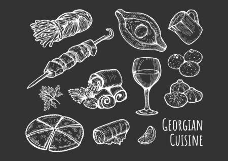 Vector illustration of a Georgian cuisine set. Khinkali, smoked Sulguni, khacha puri, Adjar khachapuri, barbecue shashlik, wine glass, Badrijani, Pkhali, Dolma. Hand drawn vintage style. Illustration