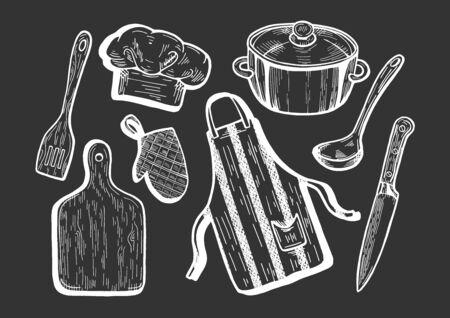 Vector illustration of kitchen utensils. Cook cap, chef hat, apron, cutting board, knife, spatula, ladle, pot, saucepan, pan, oven glove or mitt. Hand drawn cartoon style.