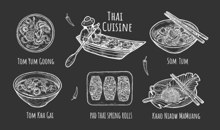 Vector illustration of Thai traditional cuisine. Thailand dishes Tom Yum Goong, Som Tum, Tom Kha Gai soup, Khao Niaow Ma Muang rice with mango, pad thai spring rolls. Food floating boat. Hand drawn.