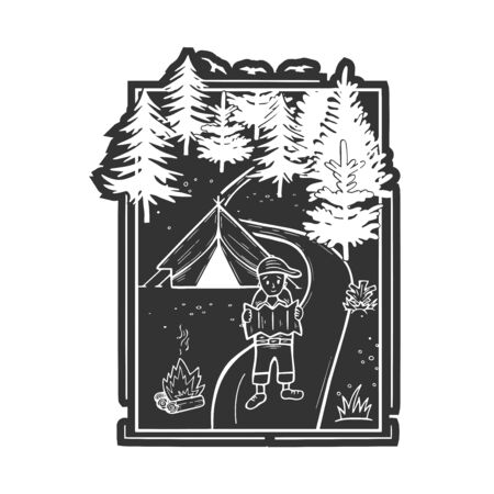 Vector illustration of wildlife nature fir tree forest landscape with camping tent and fire. Hiking boy scout looking into the map. Hand drawn modern vintage style.