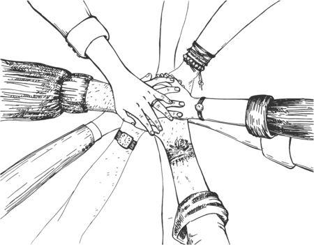 Illustration vectorielle du travail d'équipe empilant le groupe de rejoindre. L'équipe travaille diverses mains humaines les unes sur les autres. Amitié et partenariat Style vintage dessiné à la main. Vecteurs