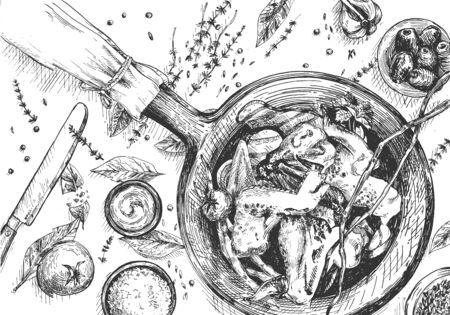 Ilustración de vector de alas de pollo en sartén bodegón. Vista superior del proceso de cocción. Salsas, tomates, sal marina, especias, aceitunas. Estilo vintage dibujado a mano. Ilustración de vector