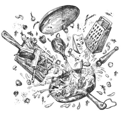 Vector illustration of messy cooking explosion levitating objects. Frying pan, veggies fly in cutting process on chopping board, grater with cheese, olive oil, spices, salt pepper. Vintage hand drawn