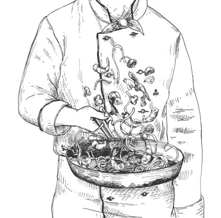 Vector illustration of restaurant cooking technique process. Man chef in uniform flipping dish on frying pan. Cropped view. Vintage hand drawn style. Vettoriali