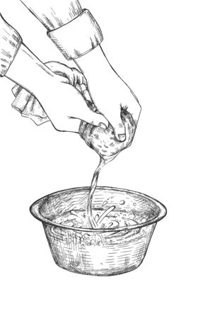 Vector illustration of soy milk straining process. Human hands squeezing and pressing liquid through cloth. Vintage hand drawn style.