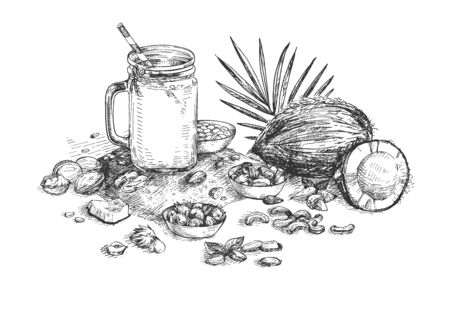 Vector illustration of nut milk still life. Fresh made drink, healthy food. Farmers market. Coconut, cashews, almonds, soy, oatmeal, hazelnuts. Vintage hand drawn style.