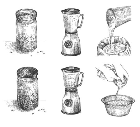 Vector illustration of soy milk process making steps set. Cooking stages soaking beans, blending, straining, boiling, finished drink. Lactose-free natural product. Vintage hand drawn style.