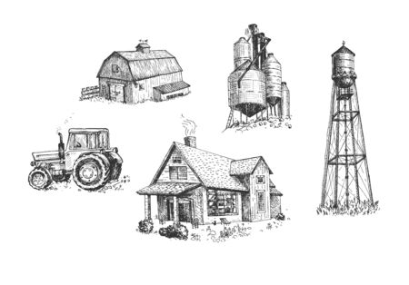 Vector illustration of farmers buildings and vehicle set. House, water tower, windmill, grain silo, grain elevator, farm, tractor. Vintage hand drawn style. Vetores