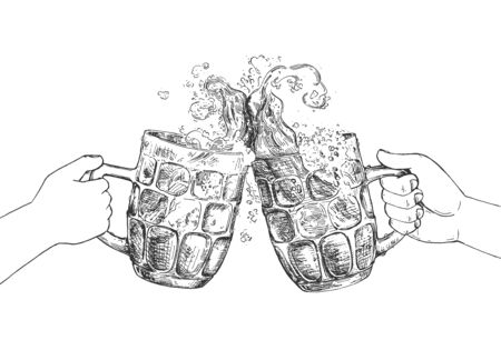 Vector illustration of Oktoberfest concept. Human hands with beer glass mugs making cheers. Clinking and celebrating fest. Vintage hand drawn style. Çizim