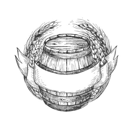 Vector illustration of wooden barrel with a ribbon and wheat crops frames. Place for text. Ilustracja