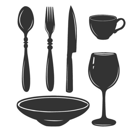 Vector illustration of simple silhouette cutlery and tableware set. Spoon, fork, knife, plate, wine glass, espresso coffee cup. Serving items. Vintage hand drawn style.
