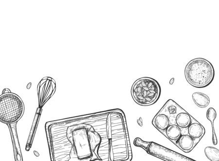 Vector illustration of baking process still life top view. Butter, eggs, flour, rolling pin, whisk, sieve, cutting board. Food preparation. Frame with empty space for text. Vintage hand drawn style.
