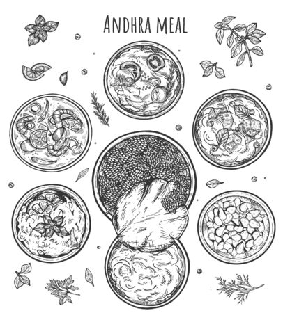 Vector illustration of Andhra meal composition. Telugu cuisine. Indian food. Vintage hand drawn style.
