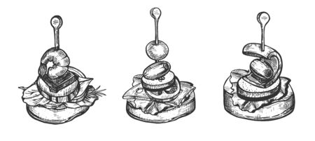 Illustration vectorielle de l'ensemble de variétés de tapas. Entrée de repas de cuisine espagnole authentique. Style vintage dessiné à la main. Vecteurs