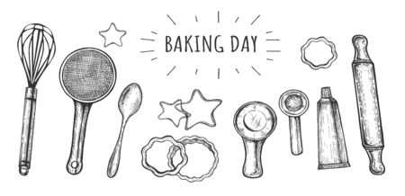 Vector illustration of baking tools set. Whisk, sieve, spoon, cookie cutters in shape of stars and flowers, measuring cup, rolling pin, icing syringe. Vintage hand drawn style.
