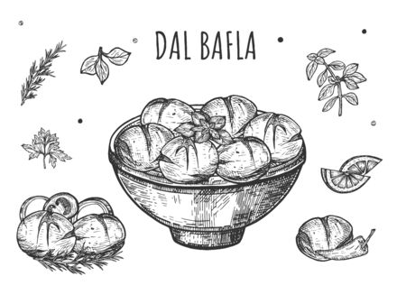 Vector illustration of Dal Bafla top view. Indian traditional spicy cuisine meal food. Menu background. Vintage hand drawn style. Çizim