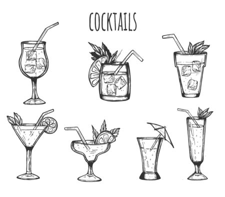 Vector illustration of cocktails in glasses set. Different alcohol drinks and beverages simple icons. Shot, tropical, whiskey, margarita, gin tonic. Vintage hand drawn style.