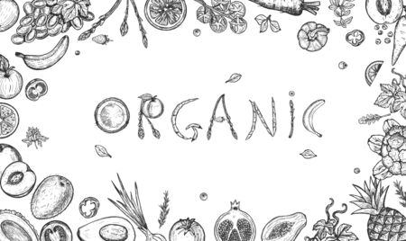 Vector illustration of organic font lettering composition made of fresh fruits and vegetables. Coconut, apple, asparagus, banana, mango, avocado, peach, tomatoes, grapes. Vintage hand drawn style