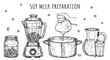 Vector illustration of healthy drinks preparation set. Soy milk making steps. Cooking stages soaking beans, blending, straining, boiling, finished drink. Vintage hand drawn style.