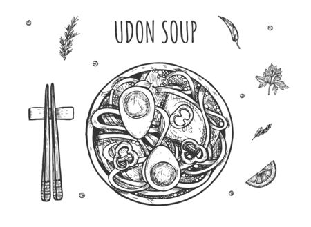 Vector illustration of traditional Chinese and Japanese dish. Exotic oriental udon noodles ramen soup with boiled eggs halves. Food chopsticks, spices. Vintage hand drawn style.