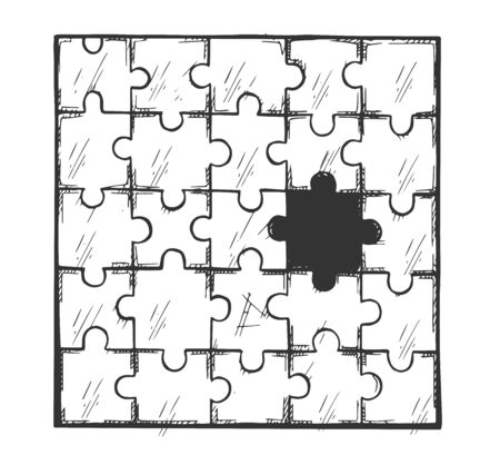 Vector illustration of interactive jigsaw. Puzzle party and board game. Abstract graphic seamless mosaic element without one part. Vintage hand drawn style.