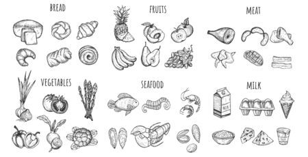 Big set of the main food groups diet nutrition icons. Bread, fruits, meat, vegetables, seafood, milk. Healthy meal planning, restaurant business, gastronomy. Vintage hand drawn sketch style.  Çizim