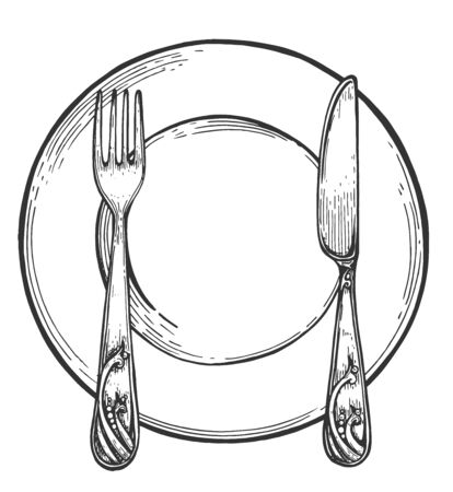 Tableware table setting. Restaurant dinner organization arranging. Simple empty plate with spoon and fork. Vintage hand drawn style.