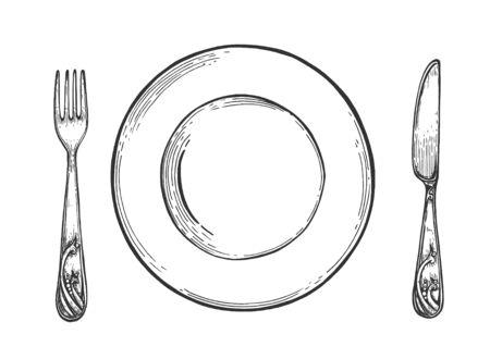 Stoviglie da tavola. Organizzazione cene al ristorante. Piatto vuoto semplice con cucchiaio e forchetta. Stile vintage disegnato a mano. Vettoriali
