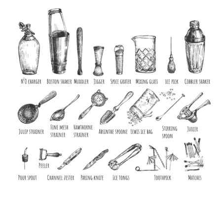 Vector illustration of bar barman instruments and tools set. N2O charger, shaker, muddler, jigger, grater, mixing glass, ice pick, spoon, juicer, peeler, knife, matches. Vintage hand drawn style. Illustration