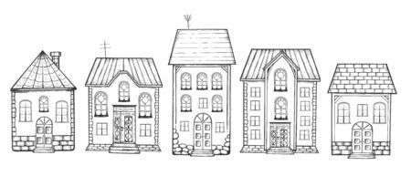 Vector illustration of buildings set. Landscape elements front side view. Brick sweet sugar homes. Street with trees and lanterns. Detailed cottage houses. Vintage hand drawn style.