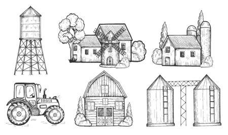 Illustrazione vettoriale di edifici di agricoltori e set di veicoli. Casa, torre dell'acqua, mulino a vento, silo per cereali, silo per cereali, fattoria, trattore. Stile vintage disegnato a mano. Vettoriali