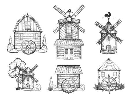 Illustrazione vettoriale di diversi tipi di mulini impostati. Mulino a vento, torri del mulino ad acqua. Vecchi edifici antichi per il pompaggio dell'acqua e lo stoccaggio del grano. Stile vintage disegnato a mano.
